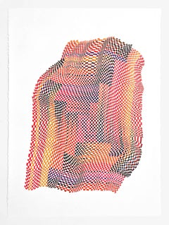 Squares 18- abstract bright color red yellow dominant color ink drawing on paper