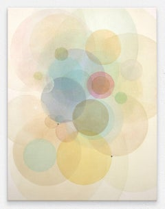 Day Map 2218- Abstract geometric soft pastel color circles painting on canvas