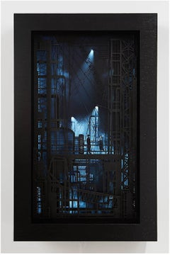 Factory-  video wall sculpture inspired by film noir