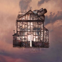 Moon- Contemporary whimsical digital color photo of flying house