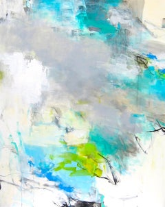Above the Clouds- contemporary white grey blue large abstract painting