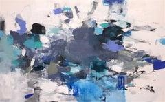 Blue Splendor- contemporary white grey blue horizontal abstract painting