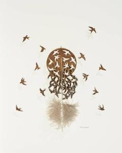 Diaspora - brown bird feather 3D wall sculpture composition on paper