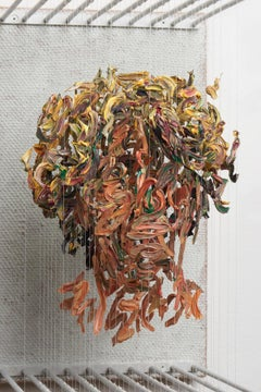 SOH - figurative portrait sculpture in 3D with suspended dried paint strokes