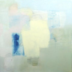 Amends- abstract oil painting soft pastel colors blue white yellow