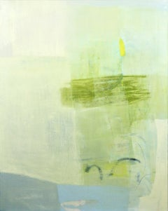 Reconcile- abstract oil painting soft pastel colors blue grey green