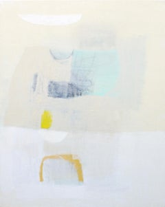 Peace Offering- abstract oil painting soft pastel colors blue grey beige white
