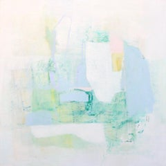 Negociation- abstract oil painting soft pastel colors blue white green yellow