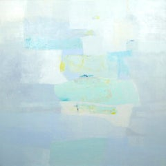 A little Tenderness- abstract oil painting soft pastel colors blue green grey