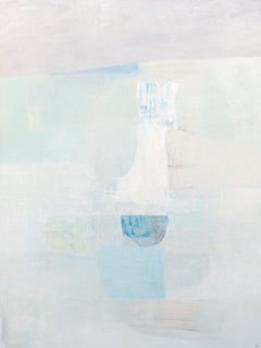 Meeting Point- abstract oil painting soft pastel colors blue white grey