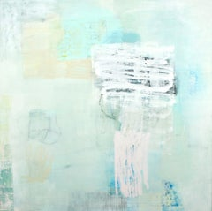 Agree to Disagree - abstract oil painting soft pastel colors white yellow
