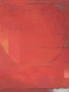 Silent Star - abstract geometric vertical red oil painting