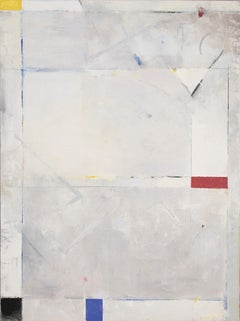 Migratory Impulse - abstract soft dominant white Mondrian style oil painting