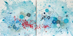 Current - diptych blue abstract geometric contemporary painting on panel