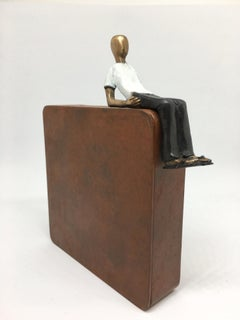 A great day- bronze mural contemporary small man figurative sculpture