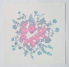 Tuin I - Abstract floral circle painting on paper pink and blue nature inspired
