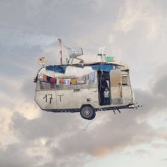 Caravane- Flying house photograph- whimsical urban street art