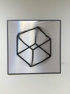 Rotation II- abstract geometric black and white lenticular print rotating cube