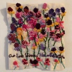 Our love blooms like wild flowers - narrative floral embroidered on fabric