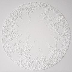 Circle 2 - intricate white 3D abstract geometric drypoint drawing on paper