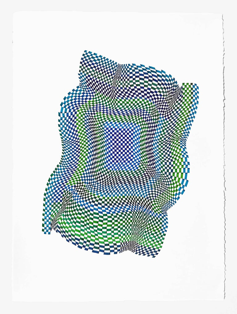 Dana Piazza Abstract Drawing - Squares 17- abstract bright color blue green dominant color ink drawing on paper