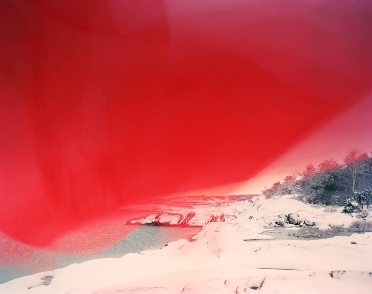 Ole Brodersen Landscape Photograph - Cloth and String 07 - red snowy abstract Scandinavian landscape photo