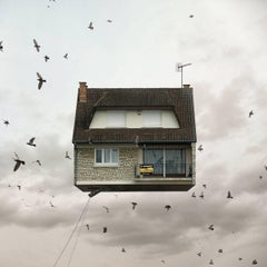 For Sale - Comptemporary whimsical digital color photograph of flying house