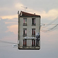 Gainsbourg - Digital whimsical color photograph of a flying Parisian house