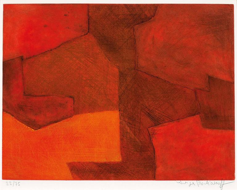 serge poliakoff composition orange et rouge print for sale at 1stdibs. Black Bedroom Furniture Sets. Home Design Ideas
