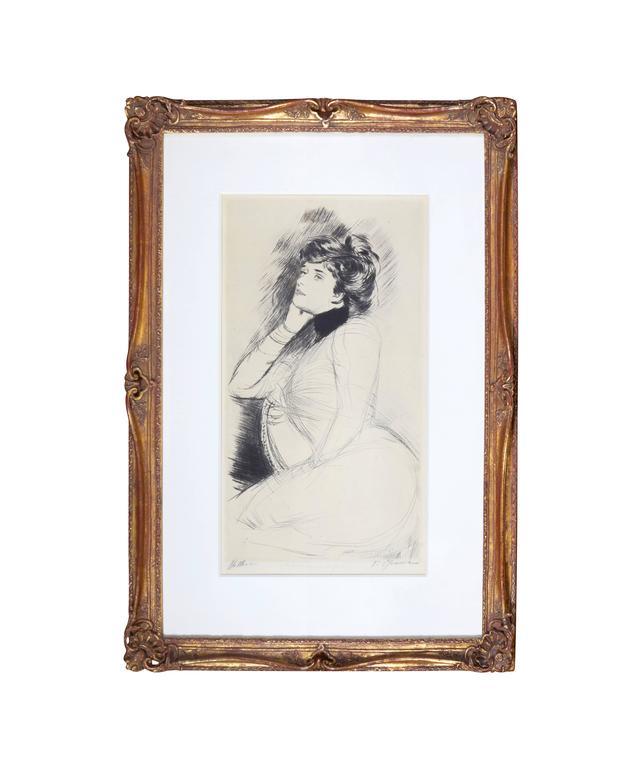 Paul César Helleu Portrait Print - Femme Assise de Trois Quarts