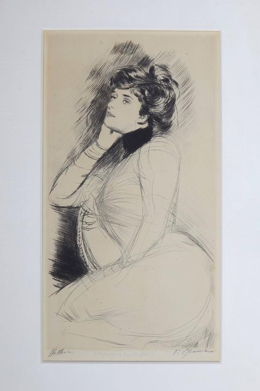 Femme Assise de Trois Quarts - Print by Paul César Helleu