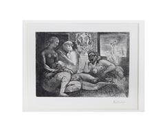 Quatre Femmes Nues et Tete Sculptee