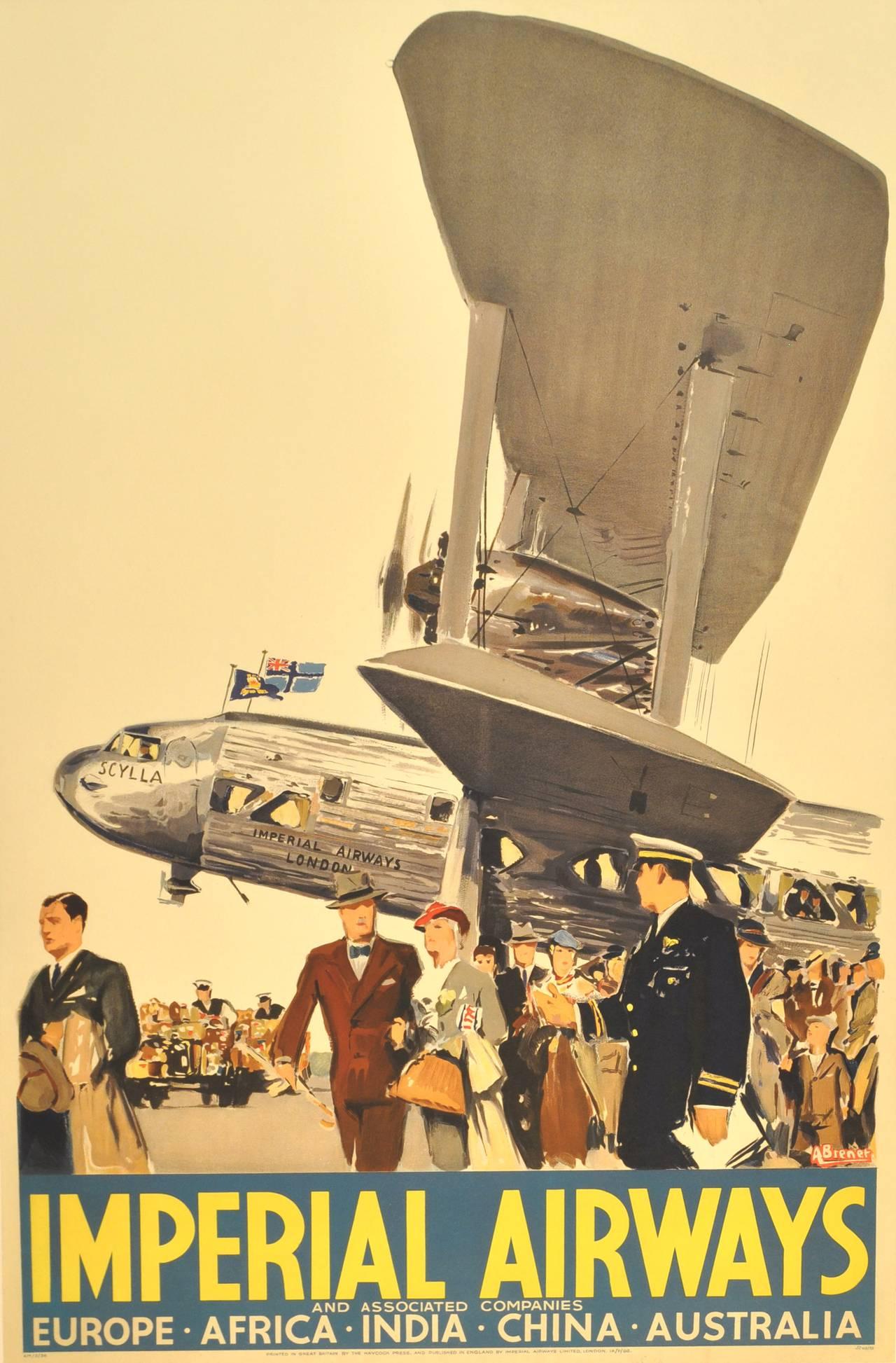 Albert Brenet Original Art Deco Imperial Airways Poster