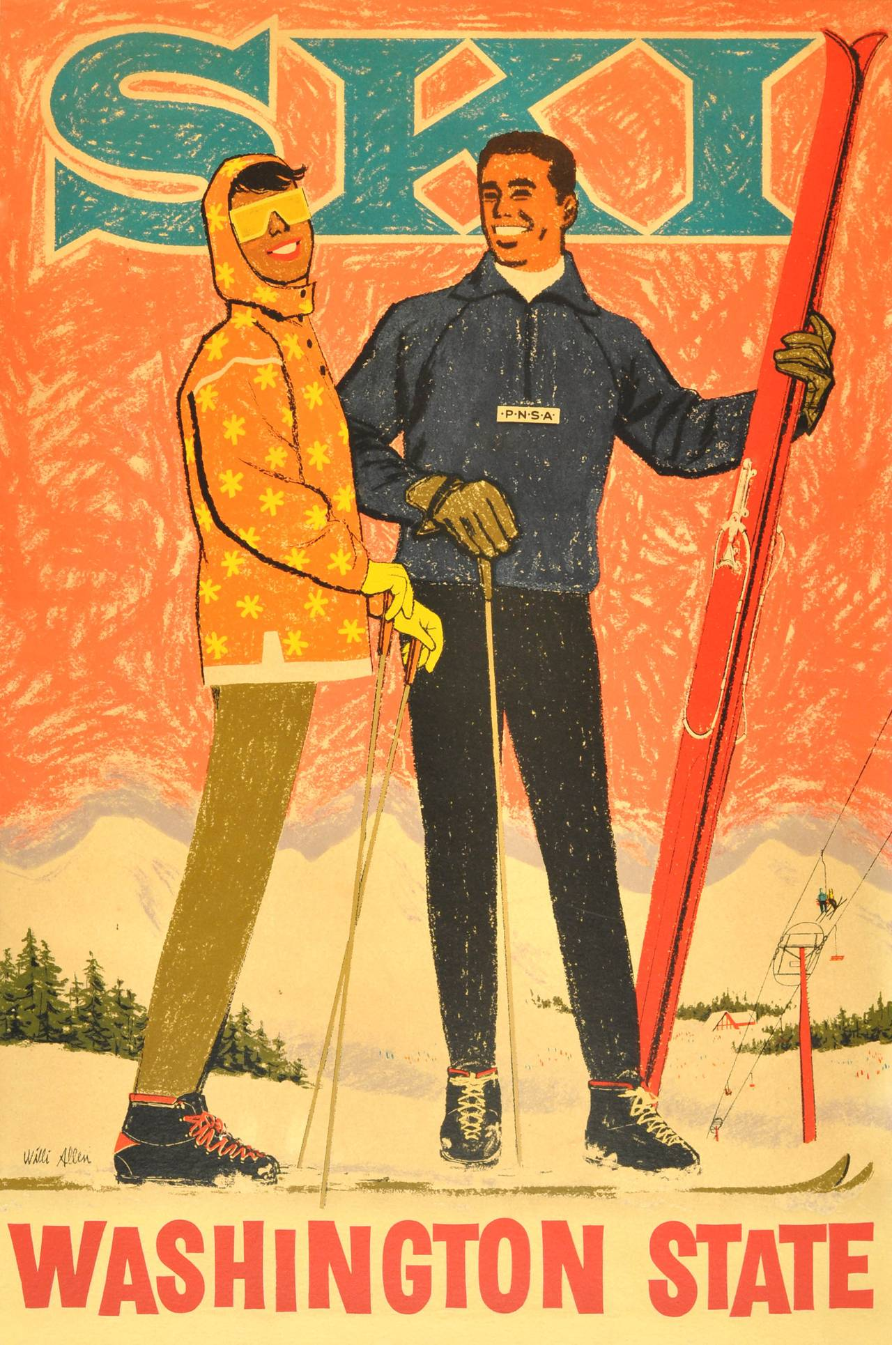 Willi Allen Original Vintage Ski Poster Washington State