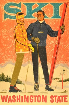 Original vintage ski poster Washington State - Pacific Northwest Ski Association