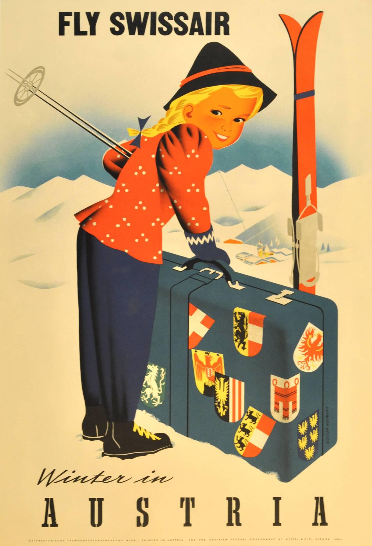 Original vintage ski poster promoting winter sports in Austria, Fly Swissair