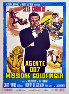 Original Vintage 007 James Bond Movie Poster - Goldfinger, Starring Sean Connery