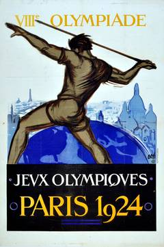 Original Vintage Summer Olympic Games Poster for the VIII Olympiad, Paris 1924
