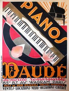 Large Original Vintage 1920s Art Deco Advertising Poster For Piano Daude, Paris