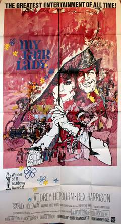 "Large Original Movie Poster - Audrey Hepburn And Rex Harrison In ""My Fair Lady"""