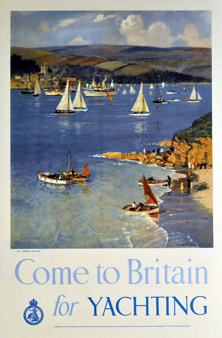 "Original Vintage Sailing Poster ""Come to Britain For Yachting"" By Arthur Burgess - Print by Arthur Burgess"