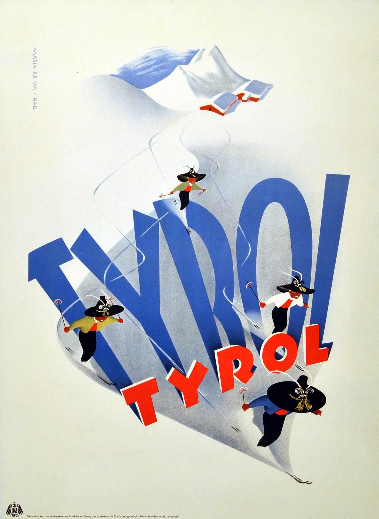 Maria Rehm Hall Original Vintage Skiing Poster For Tyrol