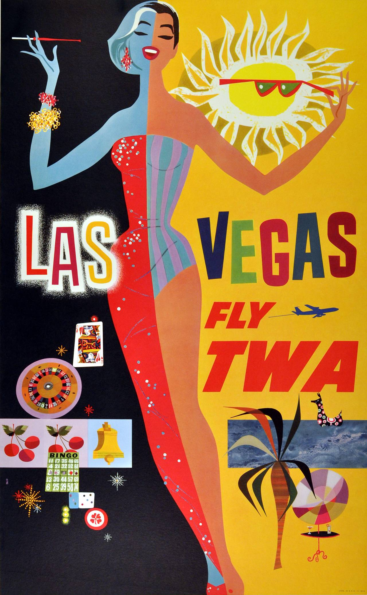 Original vintage travel poster advertising Las Vegas by TWA, Trans World Airlines. Colourful image featuring an elegant lady enjoying Las Vegas during the day and night, her right half wearing a sparkly red evening dress with her right hand holding