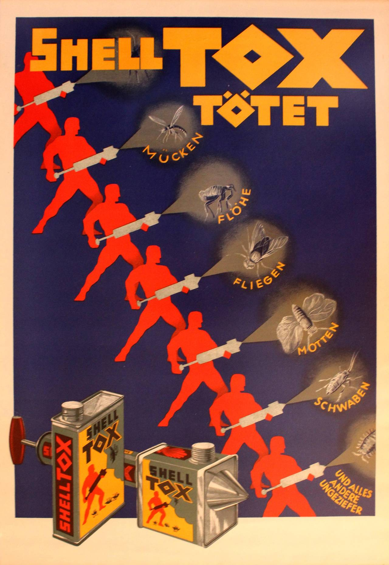 Poster design 1920s - Unknown Original Vintage 1920s Art Deco Advertising Poster For Shell Tox Insecticide 1