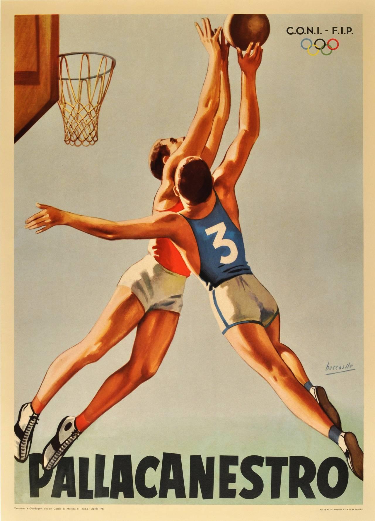 Unique Gino Boccasile - Original Vintage 1963 Sport Poster: Pallacanestro  PW67