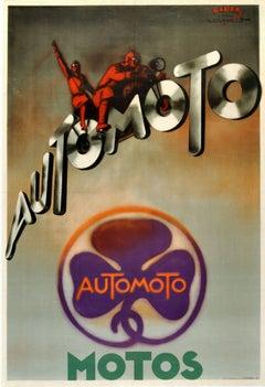 Original Vintage Art Deco Advertising Poster Automoto Motos Bicycles Motorcycles