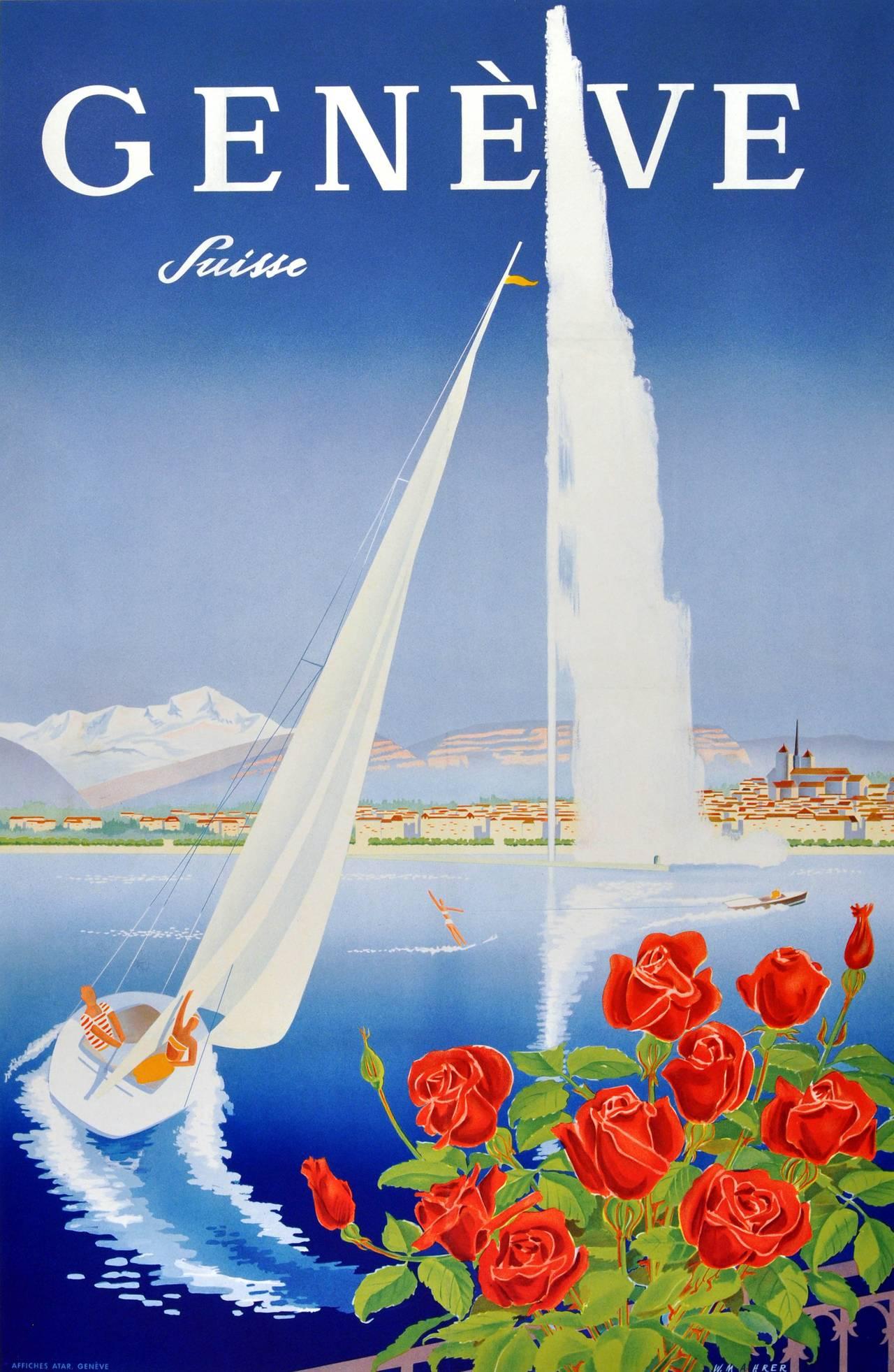 Walter M Mahrer Original Vintage Poster For Geneva