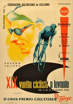 Original Vintage Cycling Tour Poster For The XIX Vuelta Ciclista a Levante 1960
