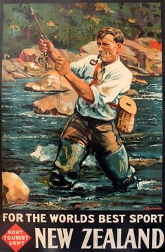 Original Vintage Travel Poster: New Zealand Fly Fishing, The World's Best Sport