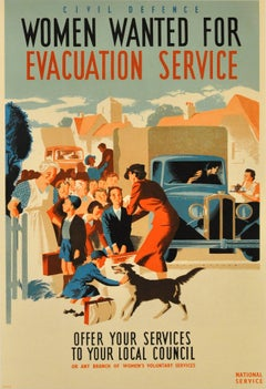 Original World War Two Poster: Civil Defence Women Wanted For Evacuation Service
